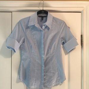 Short sleeve cuffed stripped beautiful blouse.